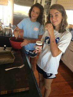 The girls baking brownies