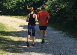 Stacie and Michael going for a run.
